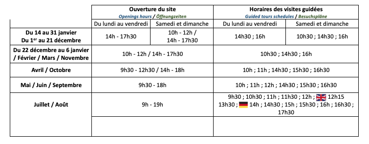 horaire saline de Salins-Les-Bains